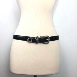 Brighton Black Brown Silver Tone Dual Belt Leather